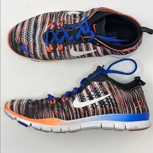 Nike free tr for 4 pattern black blue orange coral